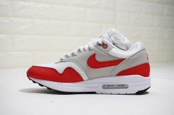 best sneakers a82a9 bf84c More Views. Nike Air Max 1 OG Anniversary White University Red Neutral Grey  Black 908375-103