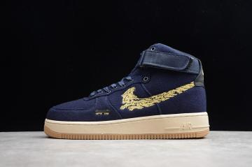 a2dcf40f6ffe0d Nike Air Force 1 High Premium Wool Dark Blue Gold CI3900-992