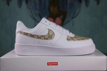 online store 8308a dbb1d Nike Air Force 1 Low Lifestyle Shoes White Gold Custom Sup