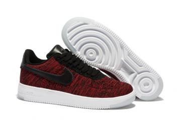 san francisco a4a42 c5757 Nike Men Air Force 1 Low Ultra Flyknit Wine Red Black LifeStyle Shoes 820256
