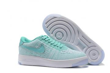 meet e86fb 31efa Nike Women Air Force 1 AF1 Flyknit Low Hyper Turquoise White Lifestyle  Shoes 820256-300