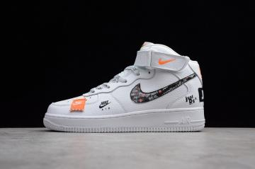new concept 52eed f9b30 Nike Air Force 1 Mid Just Do It White Black Total Orange BQ6474-100