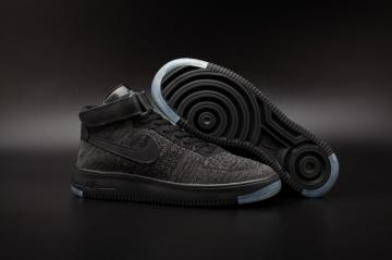 online retailer a7bf3 d468b Nike Air Force One AF1 Ultra Flyknit Mid QS Black Grey Men Lifestyle Shoes  817420-001