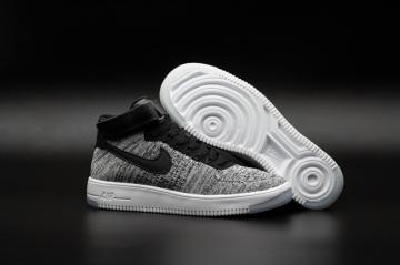 768f44ae5c87 Nike Air Force One AF1 Ultra Flyknit Mid QS Bright Grey Black Men Lifestyle Shoes  817420-002
