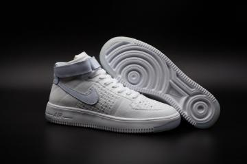 8e7e98742 Nike Air Force One AF1 Ultra Flyknit Mid Triple White Casual Shoes 817420- 100