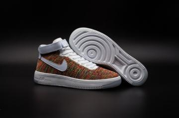 fde801237def Nike Air Force one AF1 Ultra Flyknit Mid Multi color White Gold Strap  817420-700