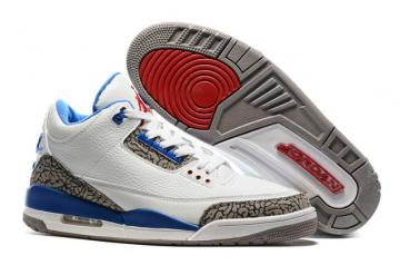 5cbe9a88f274 Nike Air Jordan III 3 Retro White True Blue Grey Red Men Basketball Shoes  136064-104
