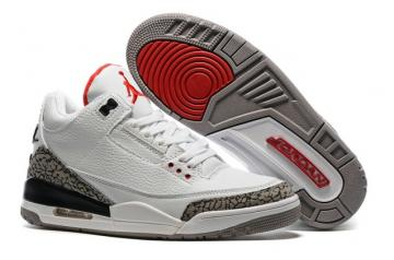 849cf378154f02 Nike Air Jordan III 3 White Fire Red Cement Grey Black Men Basketball Shoes  136064-105