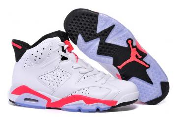 info for 604ca 06dc0 Nike Air Jordan 6 VI Retro BG White Infrared Black Women Shoes 384665 123