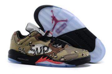 pretty nice f1d72 44158 Supreme Nike Jordan V 5 Low Camo Black Red New DS Camouflage Men Shoes  824371 201