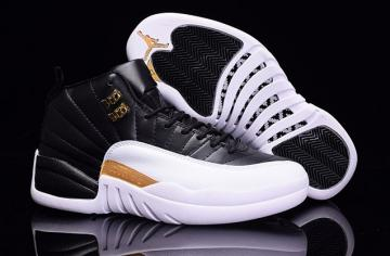 8dec2829cec205 Nike Air Jordan XII 12 Retro Black White Gold Men Shoes 136001 016