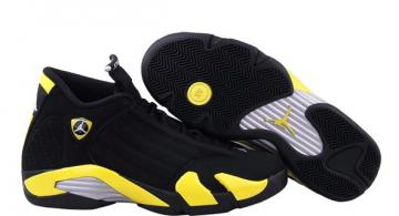 5af33d876069 Nike Air Jordan 14 XIV Thunder Black Vibrant Yellow 487471 070