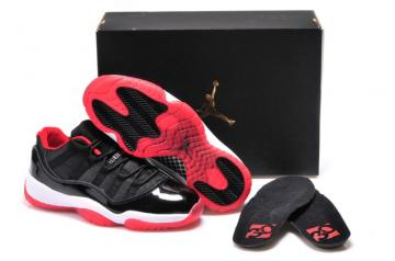 pretty nice 68527 20e0c Nike Air Jordan 11 XI Bred Low Retro True Red Black Men Shoes 528895 012
