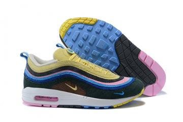 check out 1b4f3 0e4d5 Nike Air Max 97 Max 1 Sean Wotherspoon Lifestyle Shoes Yellow Colored Pink  AJ4219-400