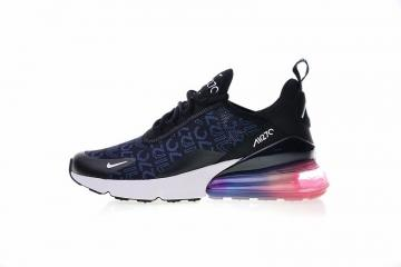 online store a393d 1ec9e Nike Air Max 270 Black Blue Logo White Pink Multi Color AH8050-028