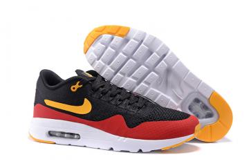 100% authentic 198bc 1ff43 Nike Air Max 1 Ultra Flyknit Men Running Shoes Black Red Orange 843384-013