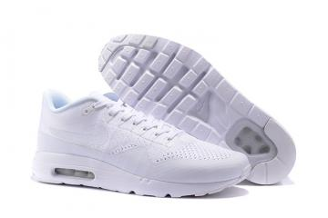 los angeles a901c 40477 Nike Air Max 1 Ultra Flyknit Men Women Lifestyle Running Shoes Triple White  843384-006