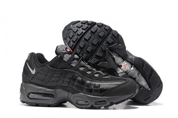 uk availability 1e0c7 69204 Nike Air Max 95 Pure Black Men Running Shoes Sneakers Trainers 749766-065
