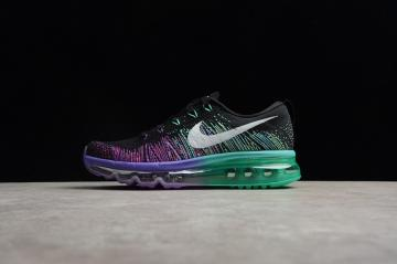 a01d4d5430 Nike Flyknit Air Max Black Violet Green Womens Running Shoes 620659-001