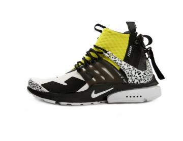 sale retailer 9abb3 d0d51 Nike Air Presto Mid Acronym Dynamic White Black Yellow AH7832-100