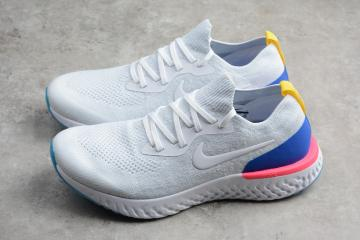 10b8dbcd706c8 Nike EPIC React Flyknit Running Shoes White Blue AQ0067-101