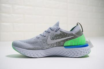 282a9e5235f0a Nike Epic React Flyknit Light Grey Green Blue AQ0067-008