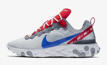 separation shoes fd244 46970 Nike React Element 55 Wolf Grey Habanero Red Game Royal CD7340-001