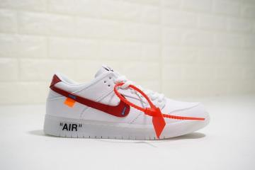 Off White x Nike Dunk Low Pro SB Canvas White Red 854866-601 a75baa996