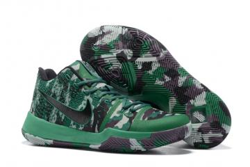 detailed look 93236 312df Nike Zoom Kyrie 3 Camouflage Green Men Shoes All Star