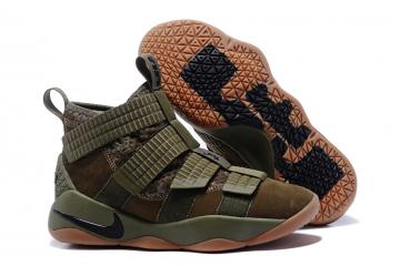 new york d2cd9 1f4af Nike Zoom LeBron Soldier XI 11 Men Basketball Shoes Camo Green Brown 897645