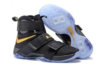 huge discount 9a6f8 5fea4 Nike Lebron Soldier 10 EP Basketball Shoes 2016 Finals Black Gold 844375-806