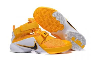 new arrival 8add5 244ff Nike Zoom Soldier 9 IX Yellow White Black Men Basketball Sneakers Shoes  749417-468
