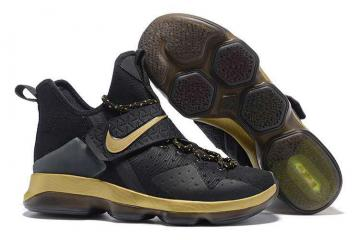 2b9a1a5dd00 Nike Zoom Lebron XIV 14 Black Gold Men Basketball Shoes 921084