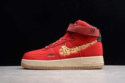 Nike Air Force 1 High Premium Wool Wine Red Black Gold Ci3900 991