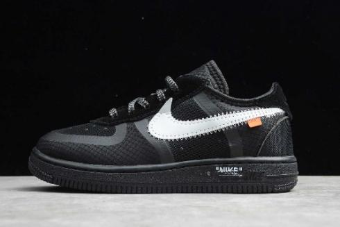 2019 Kids Nike Air Force 1 Low Off White Black White Bv0853 001