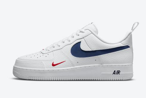 Nike Air Force 1 07 LV8 White Navy White Red Shoes DJ6887-100 ...