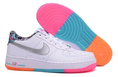 Nike Air Force 1 Low GS Nike Air Force 1 Low GS White Rainbow Trainers Shoes 596728-100 ...