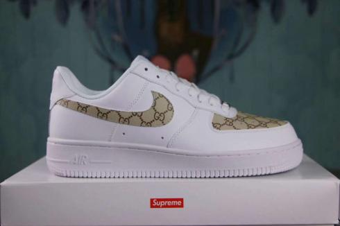 Nike Air Force 1 Low Lifestyle Shoes White Gold Custom Sup Sepsport