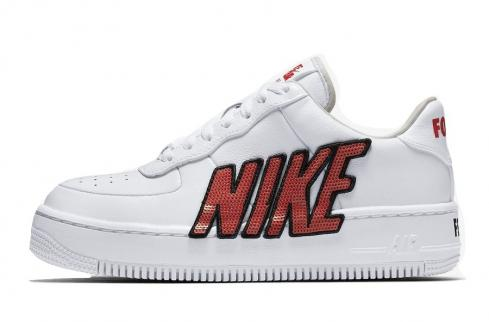Nike WMNS Air Force 1 Low Upstep Force Is Female White Black Habanero Red 898421 101