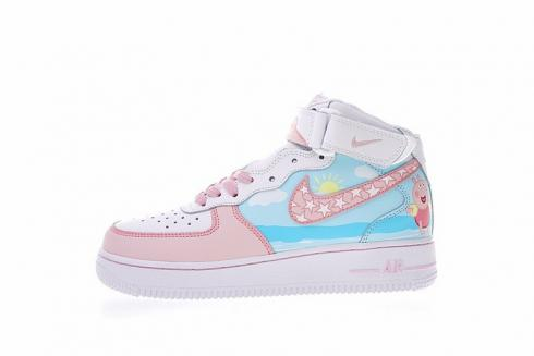 Nike Air Force 1 Mid 07 Pink Blue Peppa Pig 1077059 825