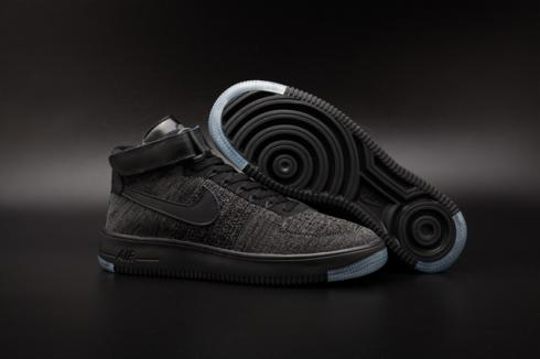 Nike Air Force One AF1 Ultra Flyknit Mid QS Black Grey Men Lifestyle Shoes 817420 001