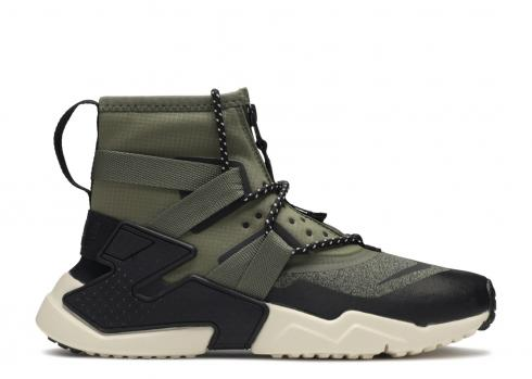 Nike Huarache Gripp Shield Medium Olive Black Kids Casual Shoes AV4066-200