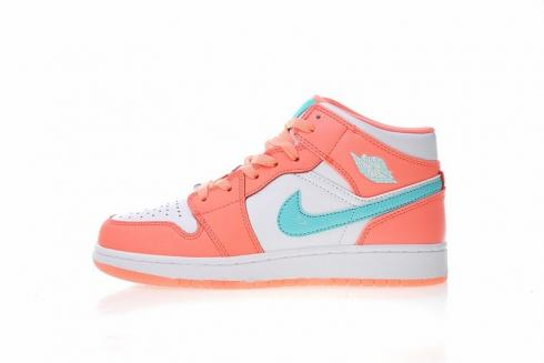9c853cb90a5c Nike Air Jordan 1 Mid GS White Blue Pink Green 555112-300 Item No. 555112- 300
