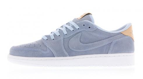 Air Jordan 1 Retro Low OG Premium Ice Blue Vachetta Tan White 905136-402