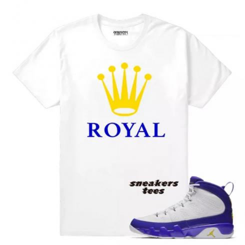 Match Jordan 9 Kobe Royal White T-shirt