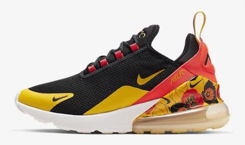 Nike Air Max 270 SE Floral Black Bright Crimson University Gold AR0499-005