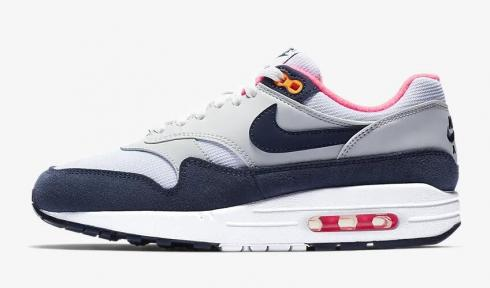 Nike Air Max 1 Premium White Pure Platinum Racer Pink Midnight Navy 319986-116