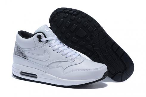 Nike Air Max 1 Mid Pure White Black Men Running Shoes Lifestyle Shoes 685192 100