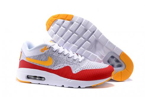finest selection 09bf0 1d083 Nike Air Max 1 Ultra Flyknit Men Running Shoes Red Grey White Orange  843384-012