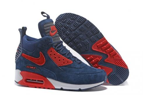 Nike Air Max 90 Sneakerboot Winter Suede Deep Blue Red 684714 019